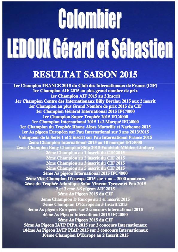 Résultats 2015 Colombier Ledoux Gérard père et fils